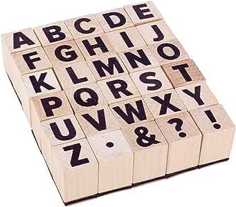 PandaHall 30 sellos de madera con letras de la A ~ Z de madera con alfabeto y símbolos para manualidades, cartas, diario y álbumes de recortes: Amazon.es: Hogar