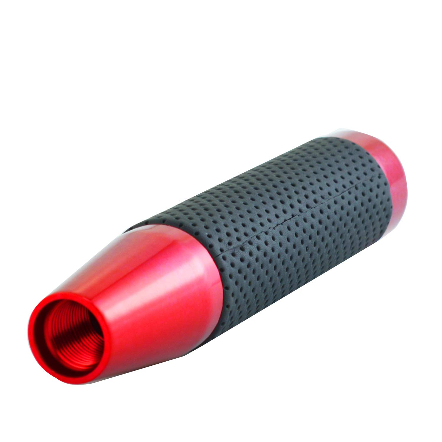 Red Bashineng 7 Inch Length Universal Gear Shift Head Leather Alloy Stick Shifter Knob Fit Most Automatic Manual Cars