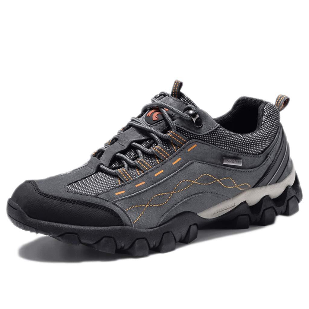 gris nihiug Chaussures de Trekking pour Hommes, Chaussures de Marche légères, en Cuir. Chaussures de Sport d'hiver en Plein air, imperméables et antidérapantes. 42 EU