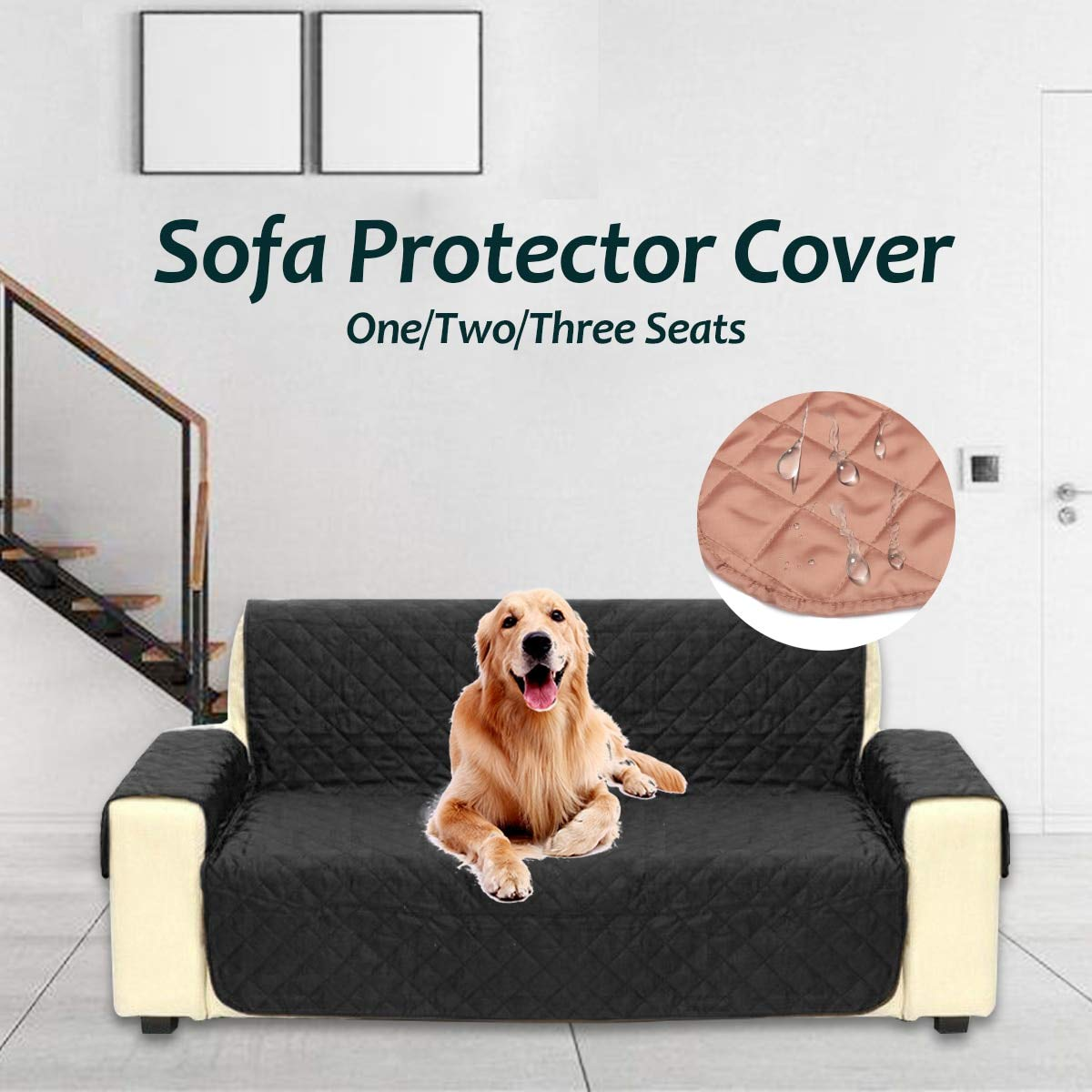 Waterproof Sofa Cover for Dogs Dogs Dogs Pets Kids Living Room Armchair Sofa Towel Lounge Predector Couch Cover 1 2 3 Seater Slipcover   White, 1 Seater 25e0fa