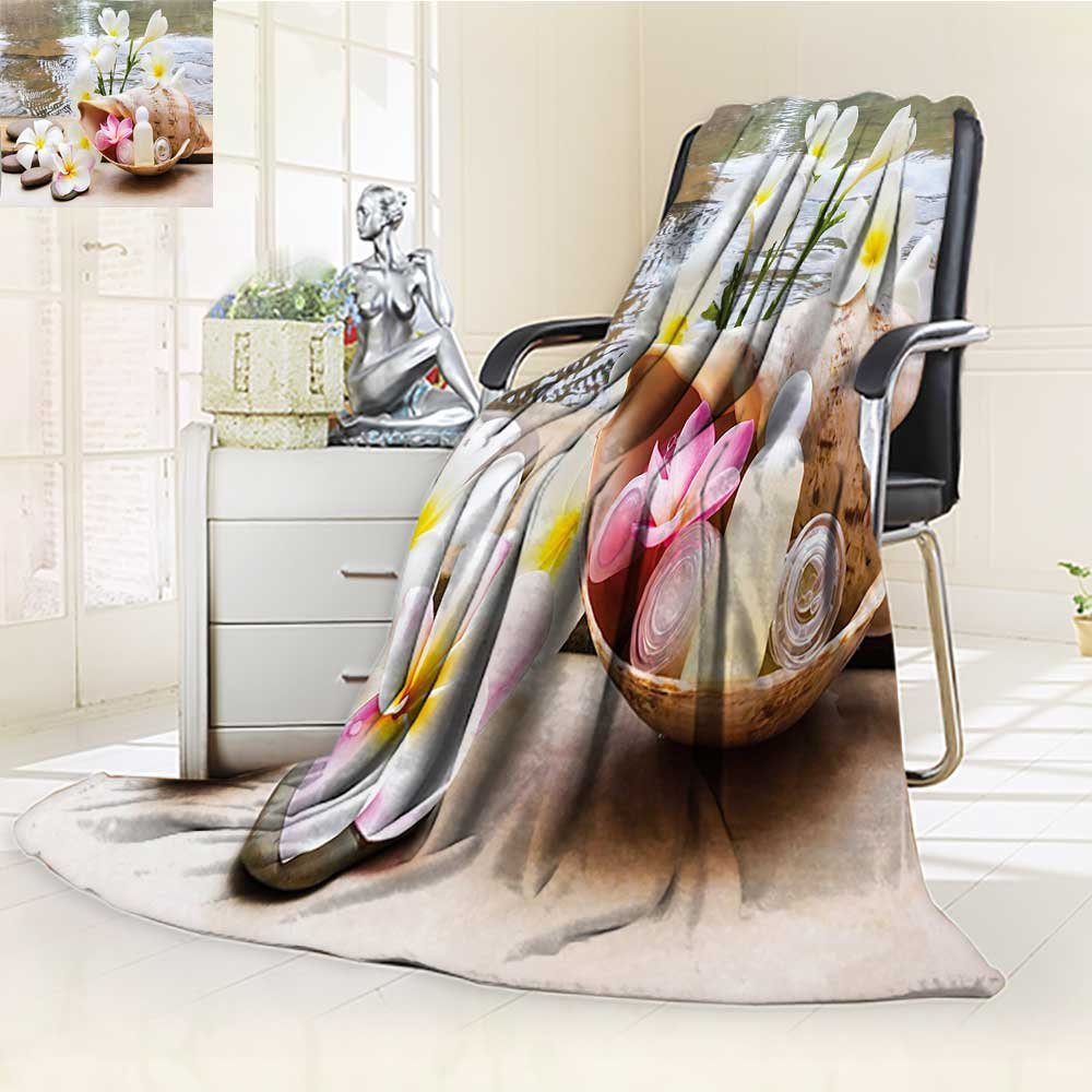 YOYI-HOME Soft Warm Cozy Throw Duplex Printed Blanket Spa Trio Bubblebath with Cream and Liquid Soap with Flowers and Sea Shell White and Brown Fuzzy Blanket s for Bed or Couch/W47 x H31.5