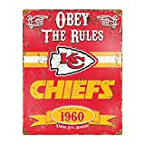 Party Animal NFL Embossed Metal Vintage Kansas City Chiefs Sign