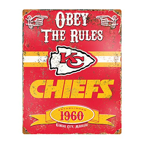 Party Animal NFL Embossed Metal Vintage Kansas City Chiefs Sign -