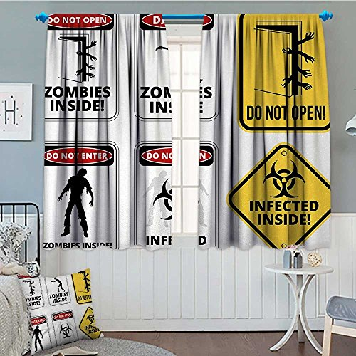 Anniutwo Zombie Blackout Window Curtain Warning Signs for Evil Creatures Paranormal Construction Design Do Not Open Artwork Customized Curtains 55'' W x 39'' L Multicolor by Anniutwo