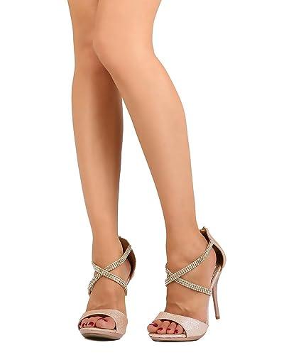 15909d372cc Women Glitter Leatherette Open Toe Rhinestone Cross Band Stiletto Sandal  FC08 - Champagne (Size