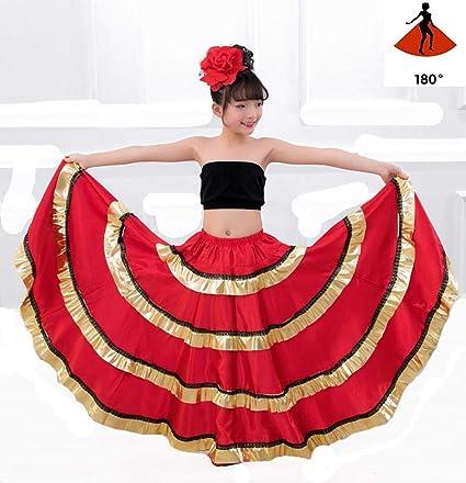 SMACO Traje de niña española Falda Larga de Flamenco roja ...