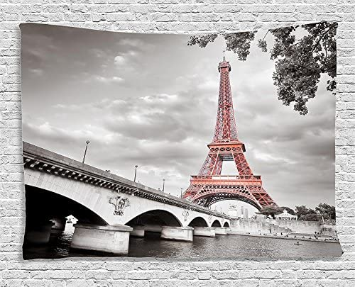 Ambesonne Paris Tapestry, Eiffel Tower Bridge Capital City Cloudscape Monochrome Style Picture Print, Wide Wall Hanging for Bedroom Living Room Dorm, 80 X 60 , Dimgray Salmon