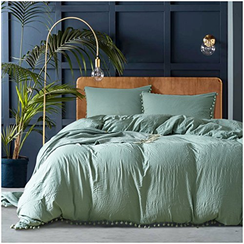 (Duvet Cover Set King with Hidden Zipper Closure,Solid Color 3pcs Soft Microfiber Bedding Set Includes 1 Comforter Cover and 2 pillow Shams (King, Green))