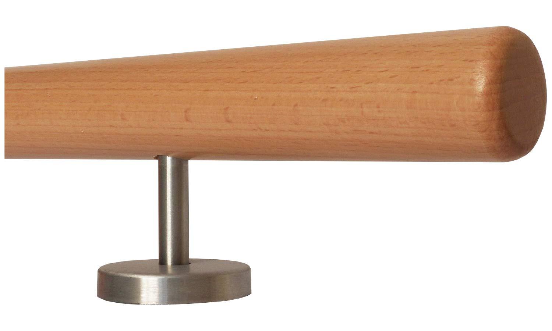L/änge 30-500 cm aus einem St/ück//zum Beispiel L/änge 80 cm mit 2 gerade Halter Buche Holz Treppe Handlauf Gel/änder Griff gerade Edelstahlhalter Enden = Halbkugel gefr/äst