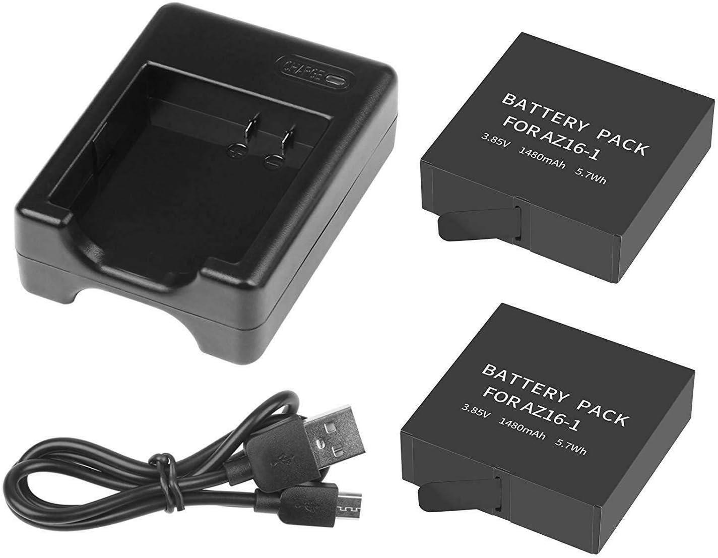 Yangers - Batería de 1480 mAh + cargador USB dual para cámara de acción Xiaomi YI Lite/4K/4K +