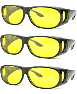 9f6f7e654c SOOLALA Value Pack HD Night Vision Wraparounds Wrap Around Windproof  Sunglasses