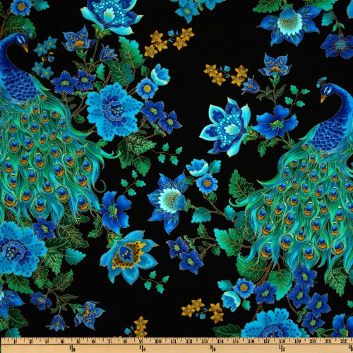 (Timeless Treasures Plume Peacocks Multi/Black Metallic Fabric by The Yard)
