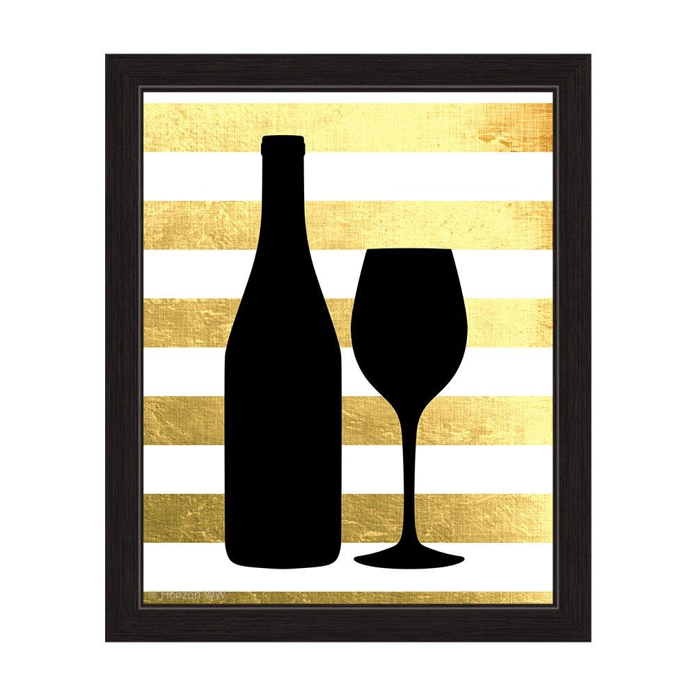 Amazon.com: Matte Non-Metallic Gold And White Striped Black Wine ...