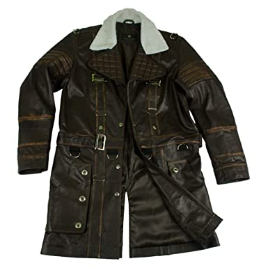e8e118105 Men's Fallout 4 Elder Arthur Maxson Battlecoat Brown Gaming Leather ...