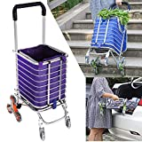 Folding Shopping Cart Stair Climbing Folding Cart Heavy Duty Grocery Shopping Trolley Utility Cart with Insulated Bag