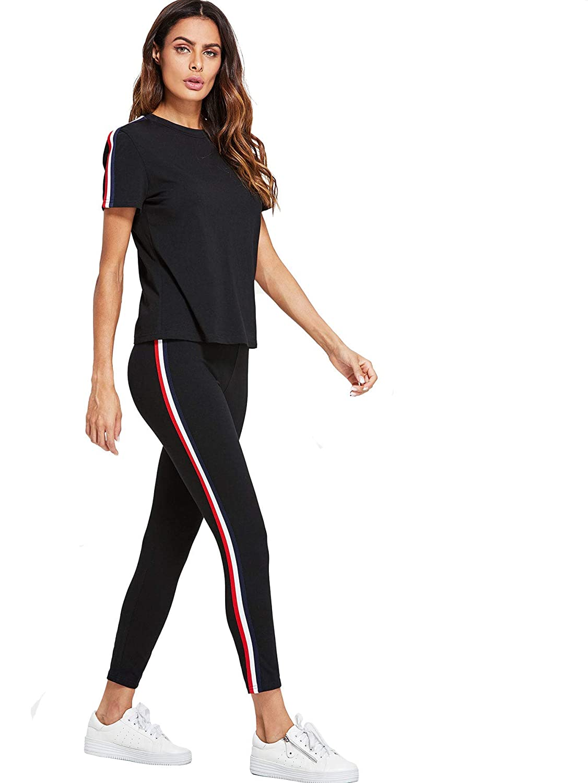 41a3c56507 Shocknshop Black Striped Red White Side Short Sleeve Top & Pant Leggings  Tracksuit Set for Womens (LEG76)