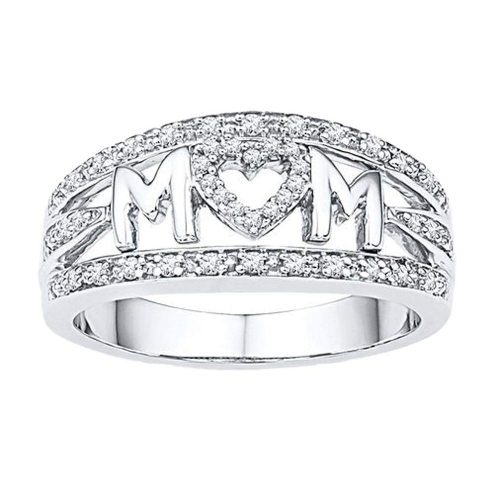 Uscharm Mother's Day Diamond Ring Jewelry Rings Best Gift for Her Wedding Band Rings Sterling Silver Rings