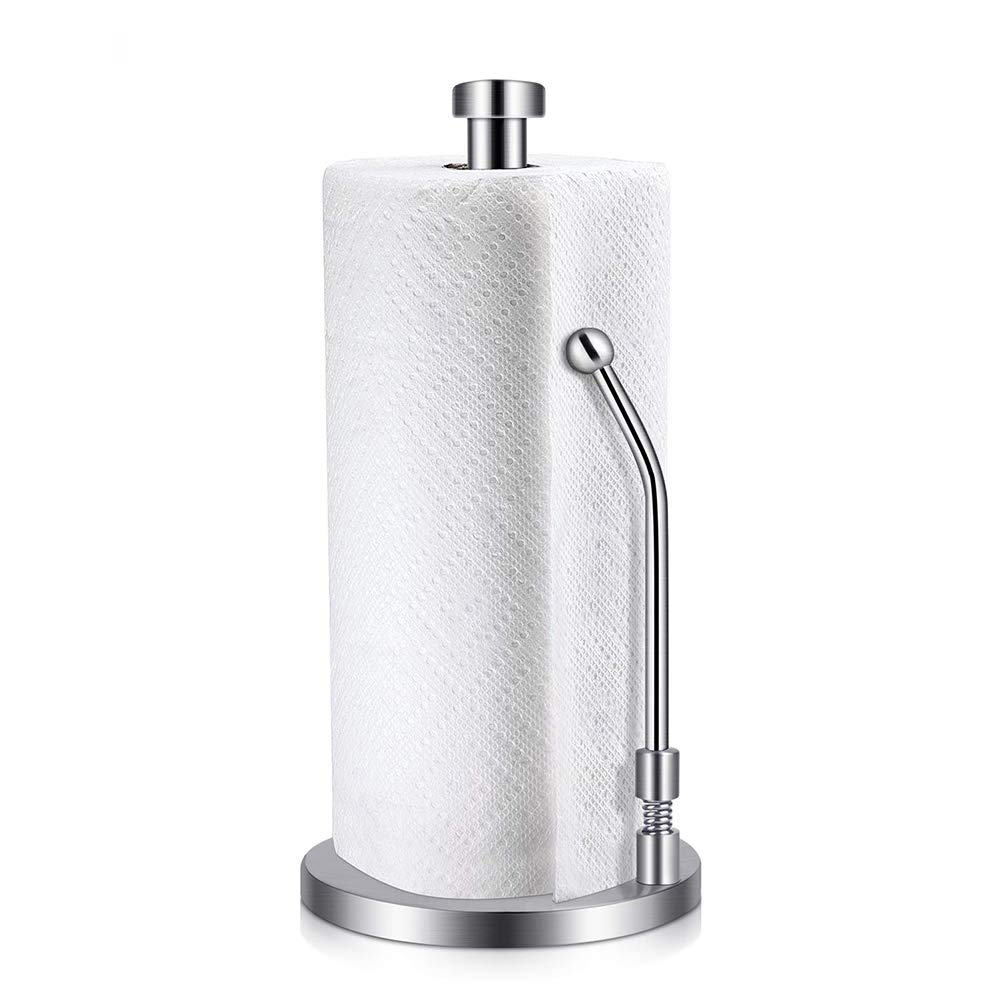 Double2C Paper Towel Holder Heavy Duty Stainless Steel Good Grips Standing Simply Tear Roll Contemporary Tissue Holder Kitchen Paper Towel Dispenser Countertop with Weighted Base for Garbage Bags