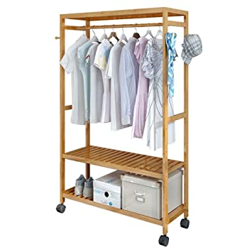 House Of Quirk Bamboo Coat Rack Diy Garment Rack Coat Clothes Hanging Rail 2 Tiers 4 Hooks For Shoe And Hat Rack Laundry Storage Shelves 100 Cm