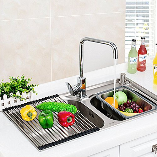 Veego Roll-Up Drying Rack Stainless Steel Folding Over Sink