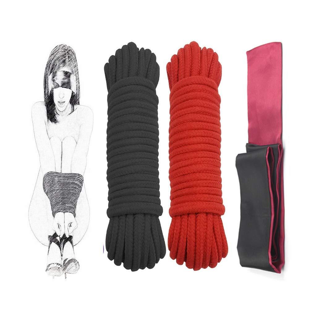 Cuerda suave de bondage de algodón: fuerte y duradera, cuerda de uso múltiple con mascarilla para ojos de 150 mm con los ojos vendados para pareja (2 + 1 paquete de 33 pies, rojo y negro)