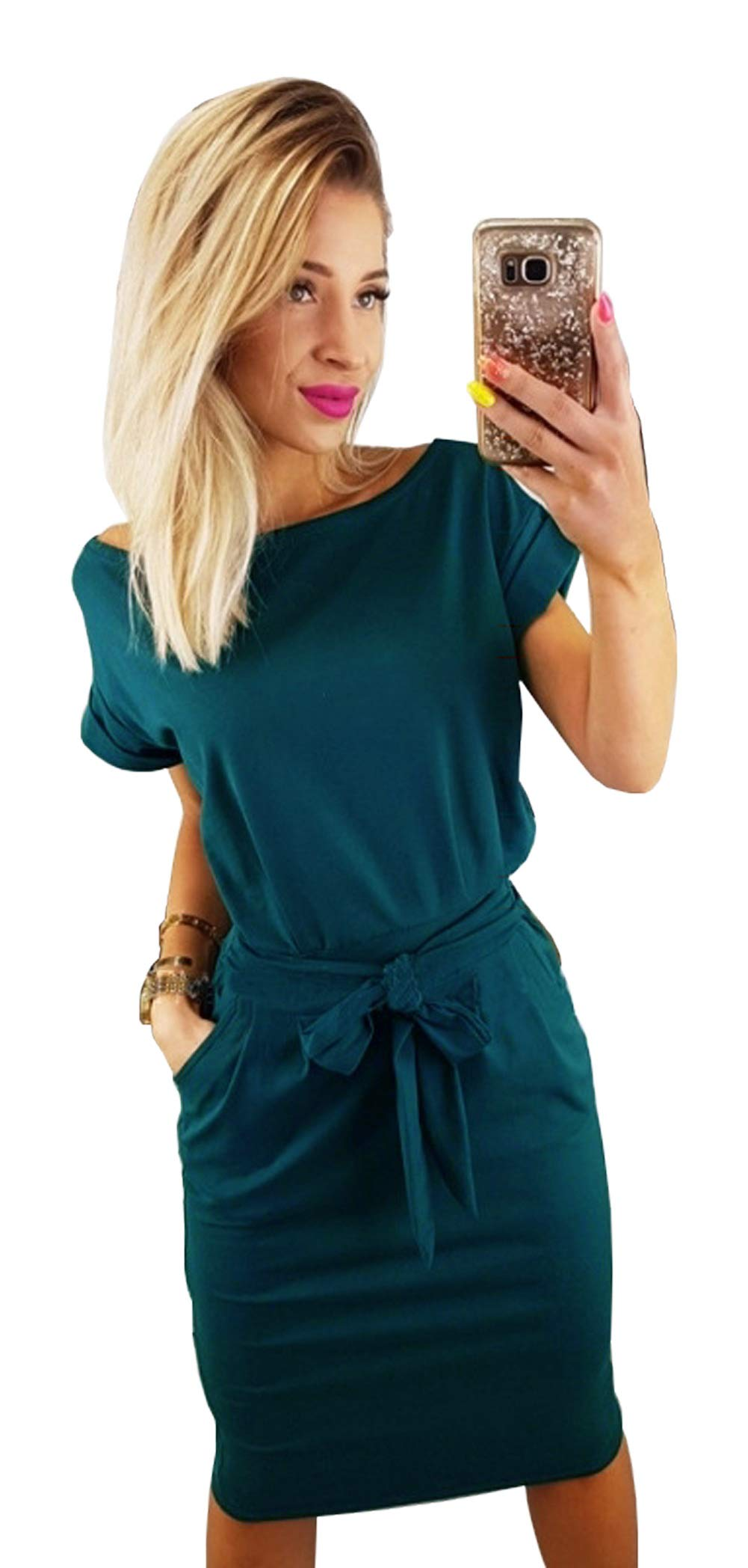 Longwu Women's Elegant Short Sleeve Wear to Work Casual Pencil Dress with Belt Dark Green-L