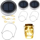 Solar Mason Jar Lights, BizoeRade Dual Row Solar Powered 10 LED Fairy Firefly String Lights(2 Pack Lid Lights and 2 Hangers Included),Fit Regular Mouth Mason Jars for Outdoor Decoration -Warm White(NOT included Jars)