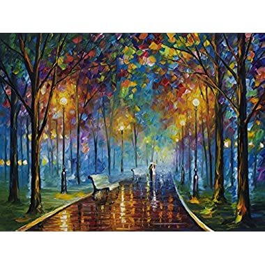 Leonid Afremov Original Image From Painting Misty Mood Print On Artistic Cotton Canvas, Size: 30 X40