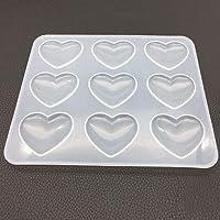 Zzqyis Molde de Silicona 9 Corazón DIY Artesanías de Resina Epoxi Fabricación de Joyas Cristal Moldes