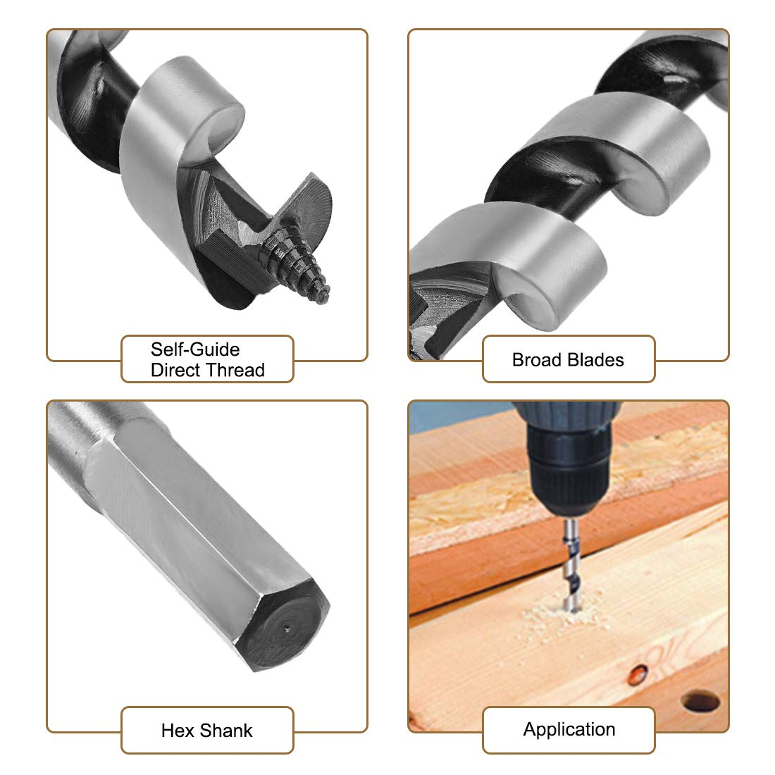 sourcing map Auger Drill Bit Wood Hex Shank 18mm Cutting Dia High Carbon Steel for Electric Bench Drill Woodworking Carpentry