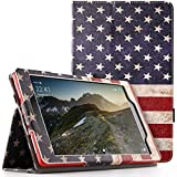 Poetic SlimFolio case All Amazon Fire HD 8 Tablet (7th 8th Generation, 2017 2018 Release) - Slim Leather Stand Folio Smart Cover Case Auto Wake/Sleep - American Flag
