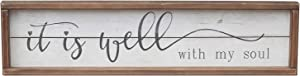 No/Brand Wood Framed Wall Sign Home Decor with Quotes | It is Well with My Soul Farmhouse Wooden Wall Art Sign Plaque