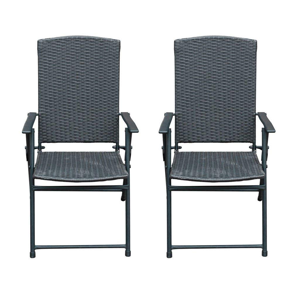Sunlife 2 PCS Patio Folding Rattan Chairs Outdoor Indoor Portable Wicker Chair with Armrest Footrest, Foldable Stackable Party Wedding Dining Chair Set by SunLife