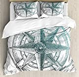 Lunarable Nautical King Size Duvet Cover Set, Compass inside Steering Wheel Ocean Icons Yacht Sailing Hand Drawn, Decorative 3 Piece Bedding Set with 2 Pillow Shams, Pale Green Charcoal Grey