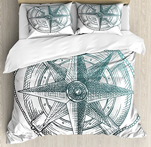 Compass Quilt (Lunarable Nautical Queen Size Duvet Cover Set, Compass inside Steering Wheel Ocean Icons Yacht Sailing Hand Drawn, Decorative 3 Piece Bedding Set with 2 Pillow Shams, Pale Green Charcoal Grey)