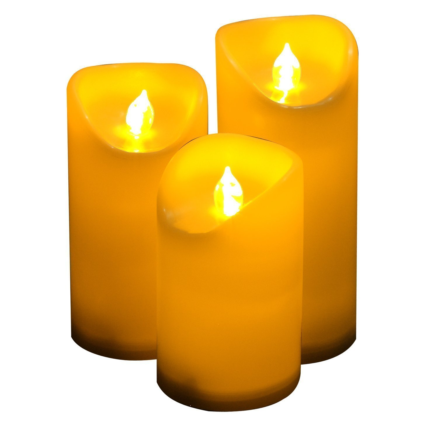 CANDLE CHOICE Outdoor Flameless Pillar Candles Set of 3,Waterproof Realistic Flickering Led Battery Operated Electric Candles with Timer 3''(5'',6'',7'')