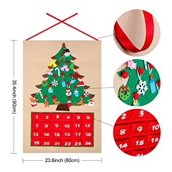 OurWarm Felt Christmas Tree Advent Calendar with Pockets and Christmas  Ornaments 24 x 35 Inch Countdown - Amazon.com: OurWarm Felt Christmas Tree Advent Calendar With Pockets