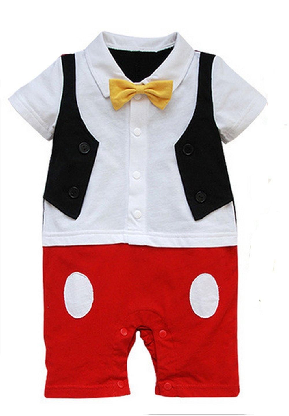 Baby Boy 3D Bowtie Photo Prop Romper Onesie Toddler Boy Cartoon Jumpsuit Red