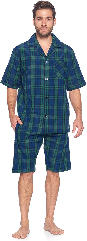 Ashford & Brooks Men's Short Sleeve Pajamas Shorts Set   Woven Plaid Sleepwear & Loungewear Button Down PJ Boxer Set