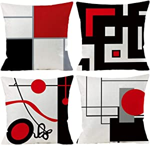 "Black Red Geometric Decorative Cushion Pillow Covers Set of 4 18"" x 18"" Modern Geometric Grey Black and Red Grid Stripe Decor Irregular with Hidden Zipper Home for Couch Bed"