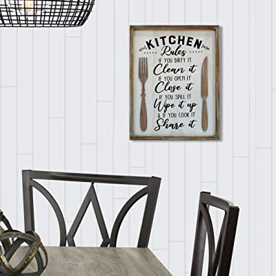 Buy Eternhome Farmhouse Wall Decor Kitchen Sign Rustic Home Decor Metal Wood Sign Plaque Kitchen Rules Framed Wall Art 11 X 15 Inch Rules Online In Indonesia B08ynnxfdy