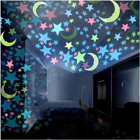 Jeash 100 Pegatinas De Pared Coloridas Y Fluorescentes Que Brillan En La Oscuridad Diseño De Lunas Para Dormitorio De Niños Sala De Estar Decoración De Techo Decoración De Pared Home