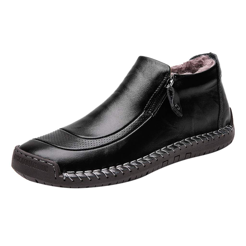 【MOHOLL】 Men's Slip-On Shoe Add Velvet Boots Leather Men's Boots Shoes Casual Sports Shoes Black by ✪ MOHOLL Shoes ➤Clearance Sales