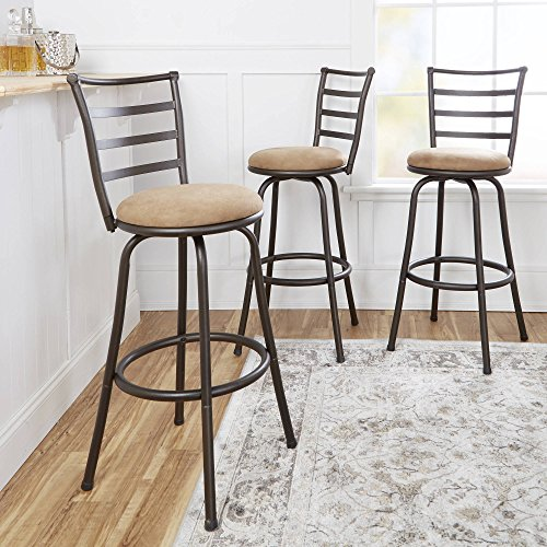 Adjustable-Height Swivel Barstool, Hammered Bronze Finish, Set of 3, Sturdy Metal Frame, a Ladder Back Design, Convenient Circular Footrest, 360-degree Swivel, Transitional Style + Expert Guide