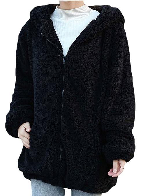 5 opinioni per Minetom Donne Ragazza Inverno Sciolto Soffice Orecchie Orso Zipper Felpe Caldo