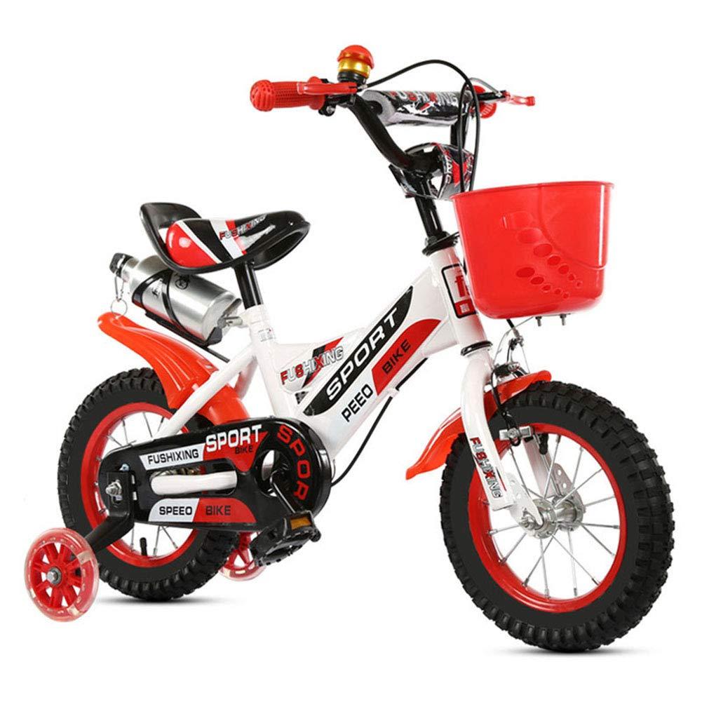 rojo1-1 Niños Bicicleta Altura Ajustable Destello Ruedas de PU Bicicleta de montaña Doble Freno Niño Niña La Seguridad Mojadura 14 Pulgadas