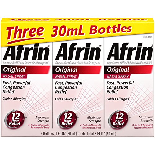 Afrin Original Nasal Spray, 3 Count (Best Decongestant For High Blood Pressure)