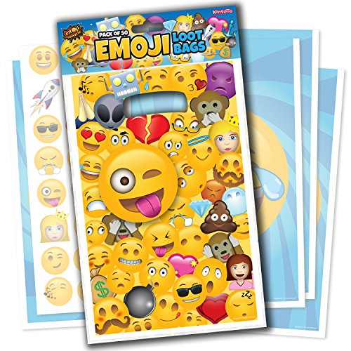 Emoji Universe: Emoji Loot Bags, Pack of 50; Trick or Treat Bags for (Halloween Loot Bag)