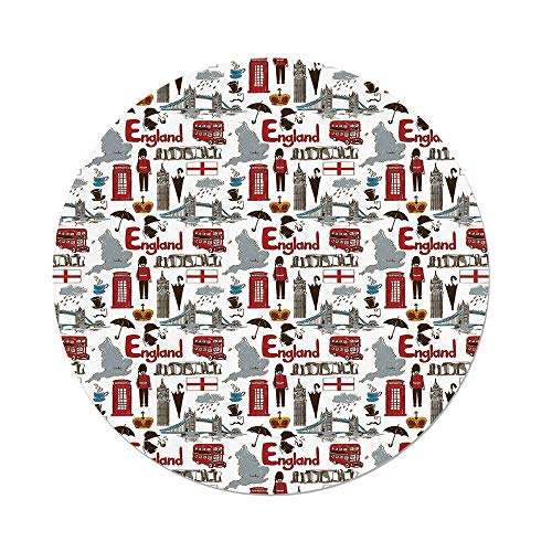 Stonehenge Ties - iPrint Polyester Round Tablecloth,London,Fun Colorful Sketch Royal Guard Map Rain Famous Country Landmarks and Stonehenge,Multicolor,Dining Room Kitchen Picnic Table Cloth Cover,for Outdoor Indoor