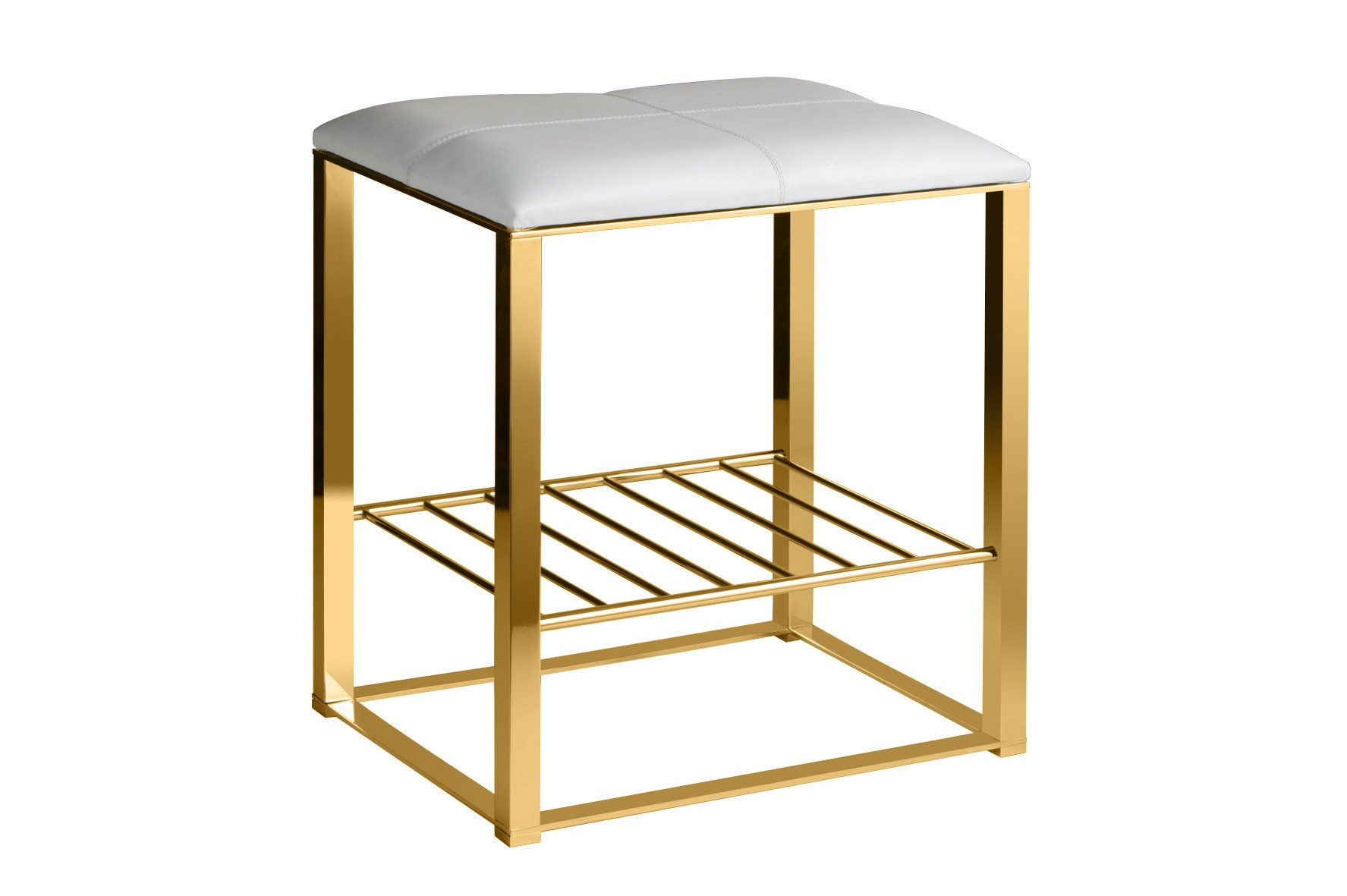 Backless Vanity Stool Bench, Brass Metal Legs, Leather Seat and Storage Shelf (White-Gold)